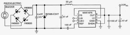 Постоянное напряжение 3,3 В от пьезоэлектрического зуммера