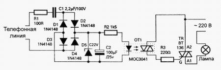 Схема лампового сигнализатора для телефона
