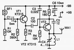 Простой УКВ (FM) радиомикрофон. Схема и печатная плата.