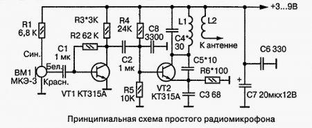 Схема простого радиомикрофона для УКВ радиоприемника