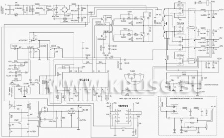 Схема блока питания ATX на ИМС TL494