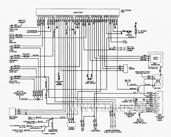 Схема электропроводки и электрооборудования автомобиля Ауди 200 (86 г.) 5000CS
