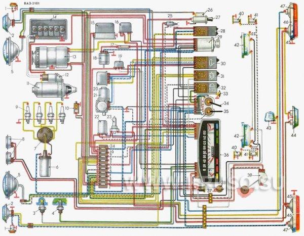 Схема электрооборудования автомобиля ВАЗ-2101