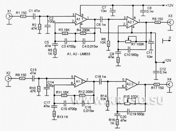 Усилитель для магнитного звукоснимателя на LM833