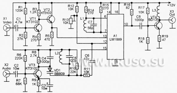 Телевизионный передатчик на микросхеме LM1889