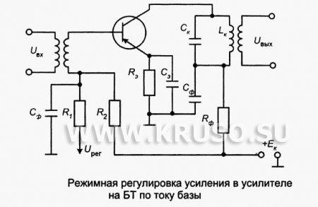 Режимная регулировка усиления в усилителях на биполярных транзисторах