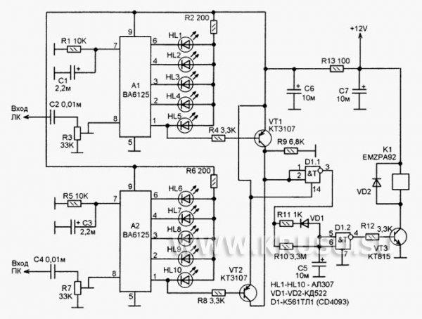 Индикатор уровня сигнала с автовыключателем для УМЗЧ