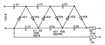 Примитивный умножитель сетевого напряжения в качестве ловушки