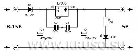 Схема 5-ти вольтового стабилизатора  на L7805