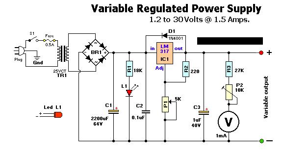 Схема лабораторного регулируемого блока питания.