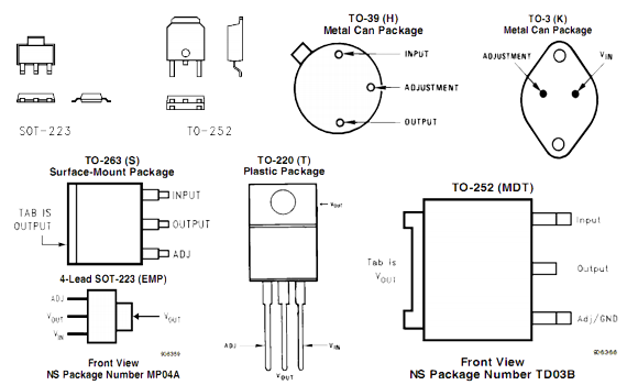 варианты исполнений микросхемы LM317.