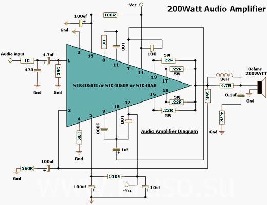 Электрическая схема УНЧ на 200