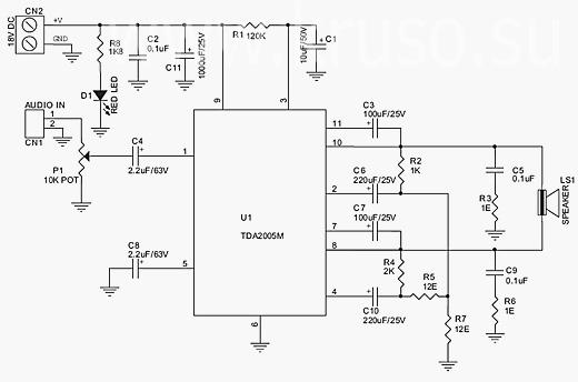 """Усилитель мощности звуковой частоты выполнен на микросхеме TDA2005 по мостовой схеме класса  """"В."""