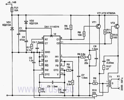 схемы преобразователей напряжения 12в 220в на полевиках - Нужные схемы и описания для всех.