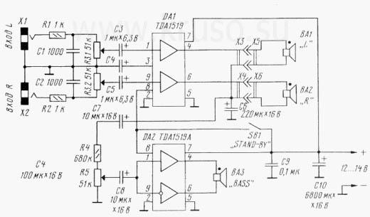 Усилитель мощности на TDA-1519.