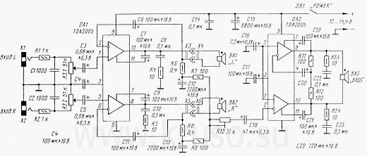В первой схеме за основу взята интегральная микросхема TDA 1519.