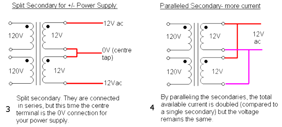 Соединения вторичных обмоток трансформатора.  На левом рисунке используются обе обмотки, как самостоятельные...