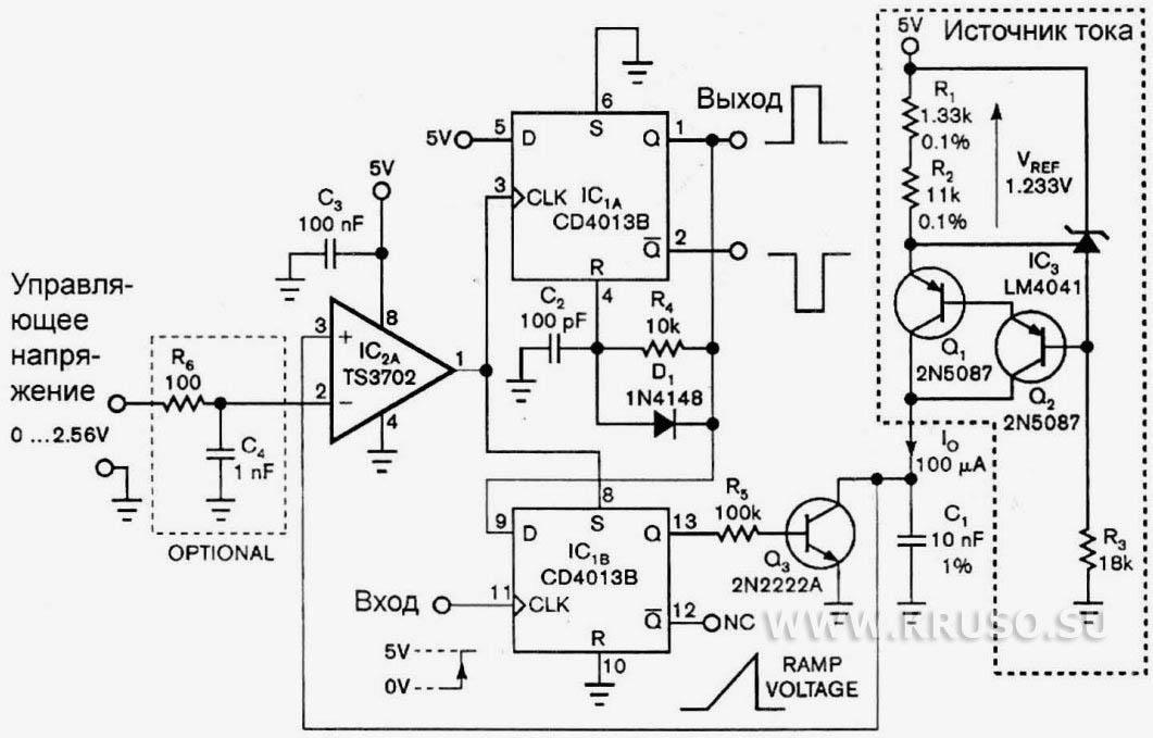 Схема моновибратора показана