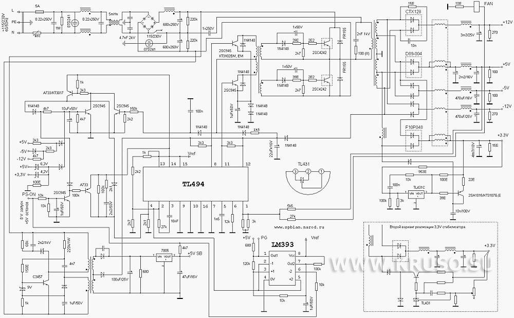 Схема блока питания ATX на ИМС
