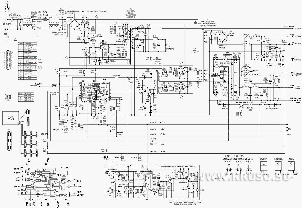 Принципиальные схемы БП ATX