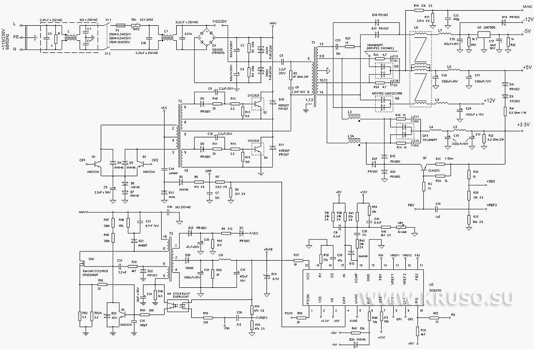 Принципиальные схемы БП ATX InWin.