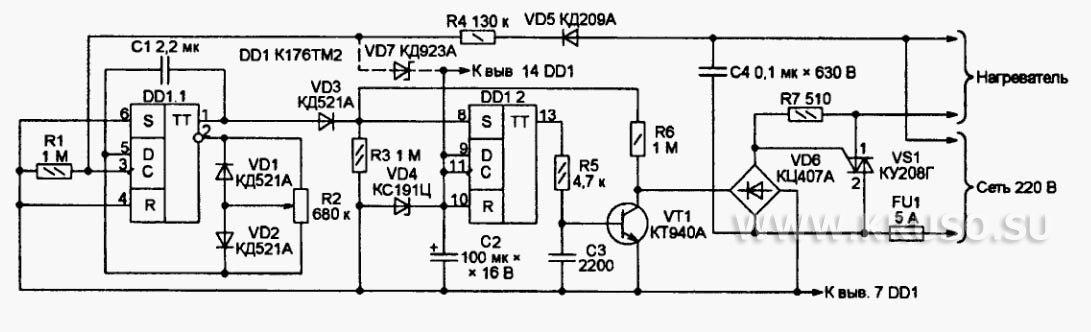 Симисторный регулятор мощности нагревателя, предложенный К. Гавриловым, с целью минимизации создаваемых помех...