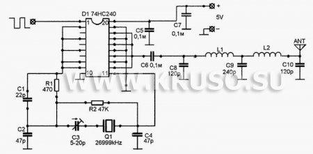Схема передатчика цифрового радиоуправления на микросхеме 74НС240
