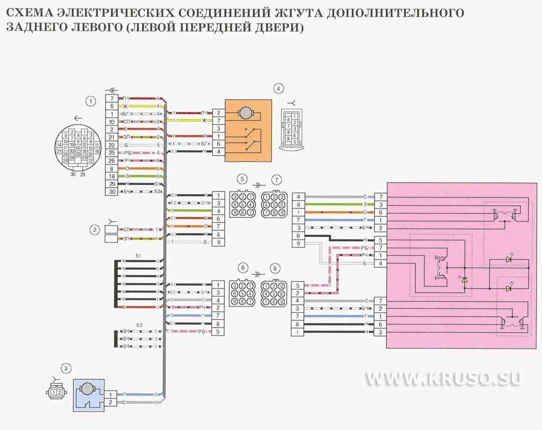 Схема электрических соединений жгута дополнительного заднего левого(левой передней двери) для автомобилей выпуска до...