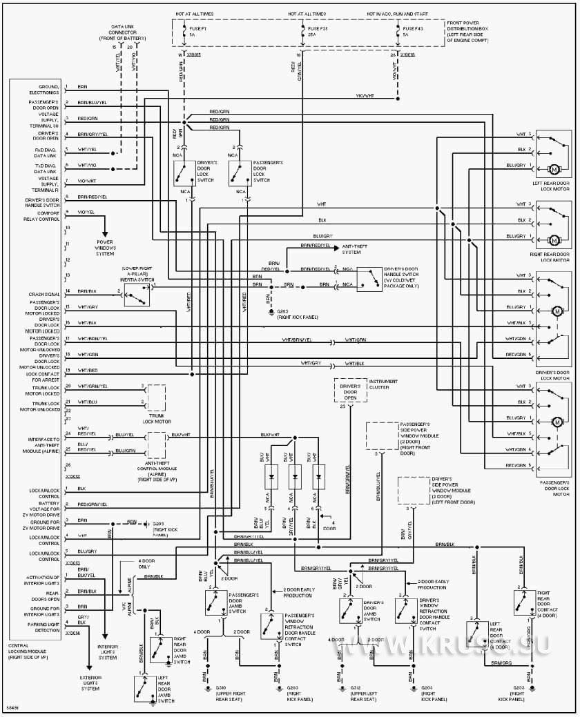 Схема полностью: attachment=15.  Электрическая схема модуля центрального замка.