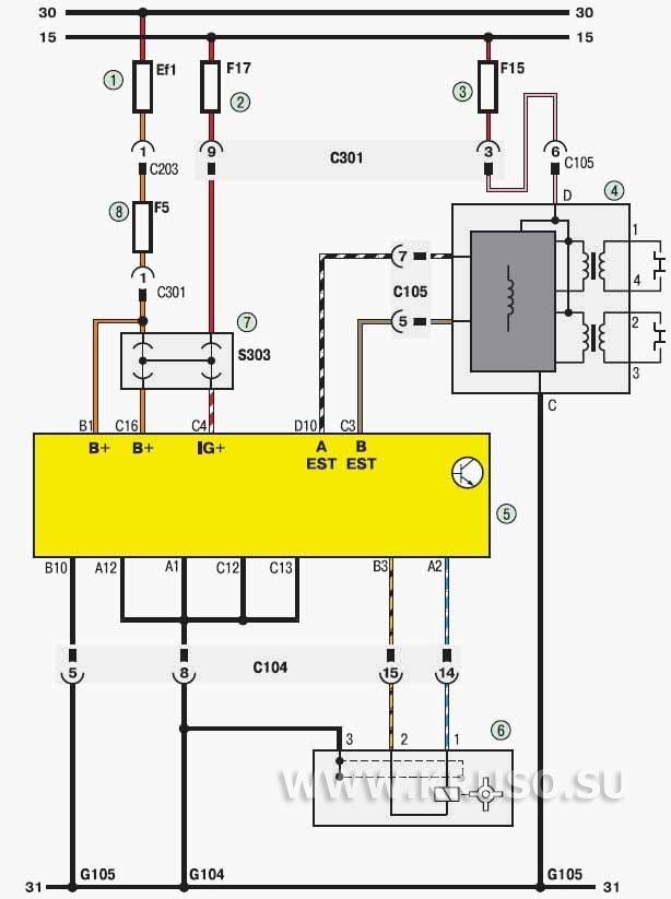 Система управления двигателем (начало): 1 - плавкая вставка (80 А); 2, 3 - предохранители (15 А); 4 - катушка...