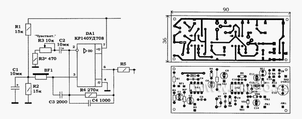 Схема простого кабелеискателя