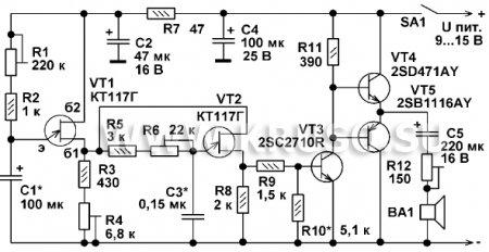 Генератор звуковых эффектов на однопереходных транзисторах