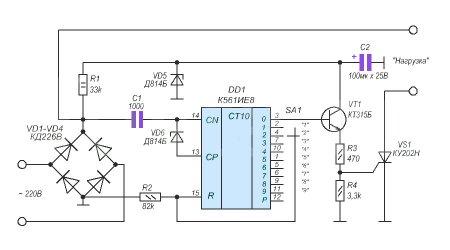 Регулятор мощности на тиристоре КУ202Н1