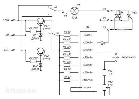 Схема пробника для проверки симисторов и тиристоров